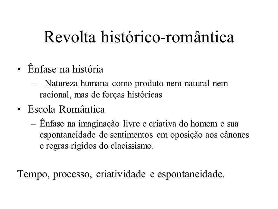 Revolta histórico-romântica Ênfase na história –Natureza humana como produto nem natural nem racional, mas de forças históricas Escola Romântica –Ênfa