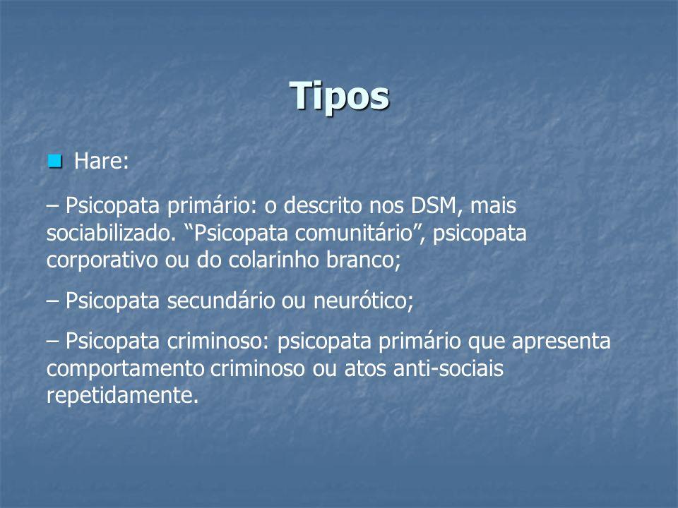 Tipos Hare: – Psicopata primário: o descrito nos DSM, mais sociabilizado. Psicopata comunitário, psicopata corporativo ou do colarinho branco; – Psico