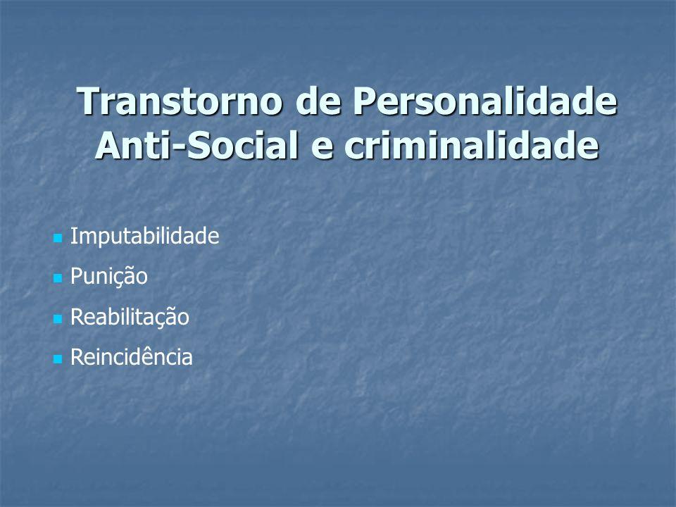 Transtorno de Personalidade Anti-Social e criminalidade Imputabilidade Punição Reabilitação Reincidência