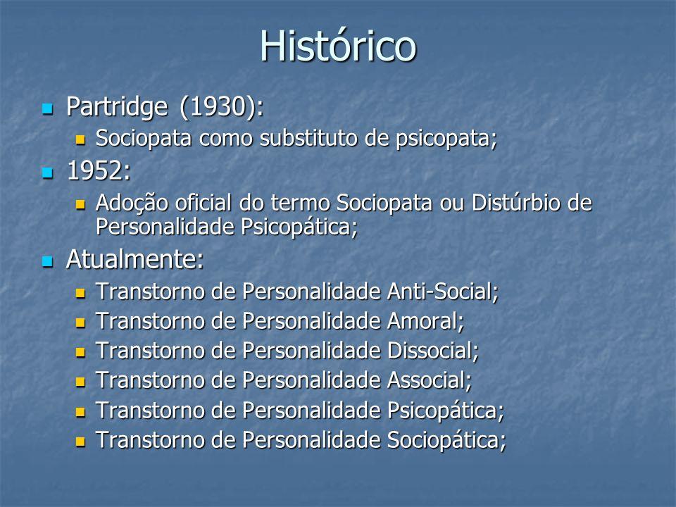 Histórico Partridge (1930): Partridge (1930): Sociopata como substituto de psicopata; Sociopata como substituto de psicopata; 1952: 1952: Adoção ofici