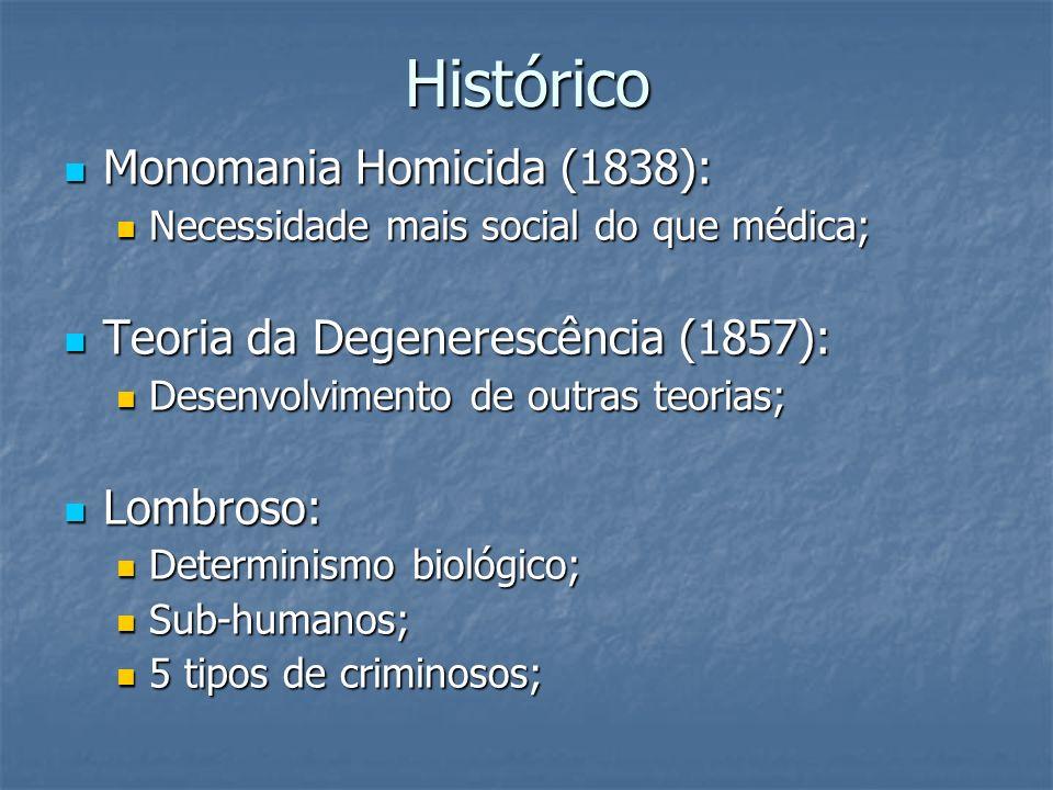 Histórico Monomania Homicida (1838): Monomania Homicida (1838): Necessidade mais social do que médica; Necessidade mais social do que médica; Teoria d