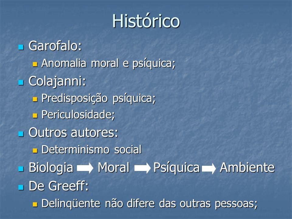 Histórico Garofalo: Garofalo: Anomalia moral e psíquica; Anomalia moral e psíquica; Colajanni: Colajanni: Predisposição psíquica; Predisposição psíqui