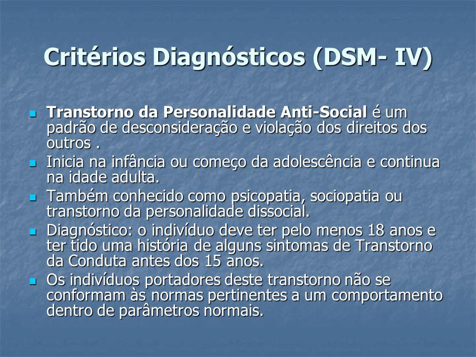 Critérios Diagnósticos (DSM- IV) Transtorno da Personalidade Anti-Social é um padrão de desconsideração e violação dos direitos dos outros. Transtorno