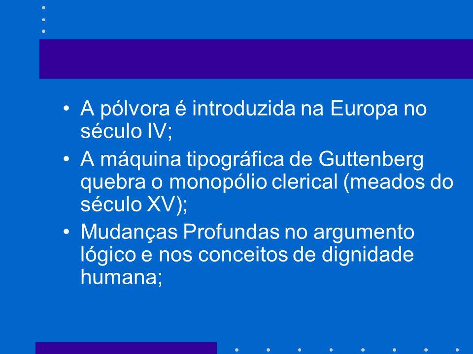 A pólvora é introduzida na Europa no século IV; A máquina tipográfica de Guttenberg quebra o monopólio clerical (meados do século XV); Mudanças Profundas no argumento lógico e nos conceitos de dignidade humana;