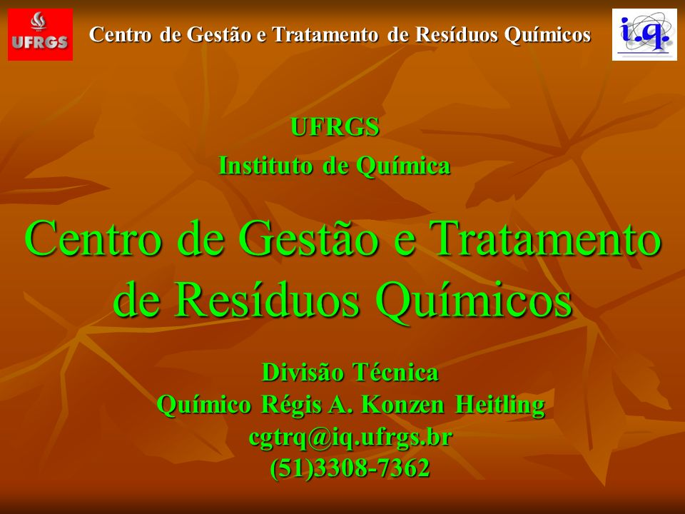 Centro de Gestão e Tratamento de Resíduos Químicos O CGTRQ foi criado em julho de 2002 julho de 2002 como Órgão Auxiliar, vinculado ao Instituto de Química, como Órgão Auxiliar, vinculado ao Instituto de Química, sem destaque orçamentário.