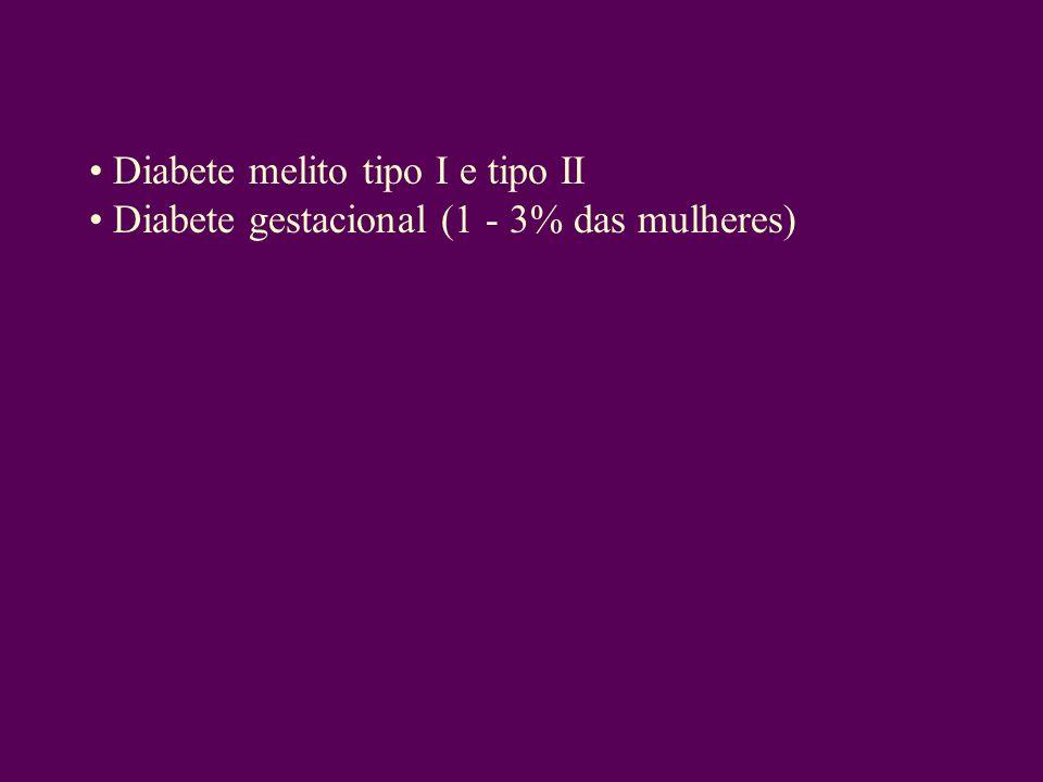 Diabete melito tipo I e tipo II Diabete gestacional (1 - 3% das mulheres)