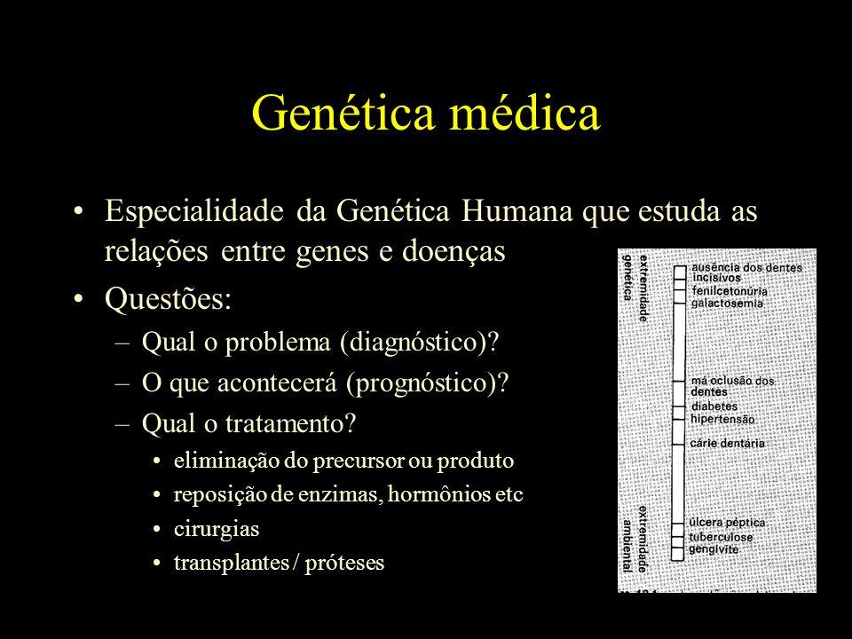 Genética médica Especialidade da Genética Humana que estuda as relações entre genes e doenças Questões: –Qual o problema (diagnóstico).
