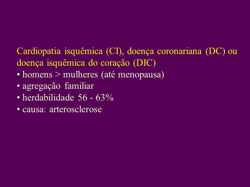Cardiopatia isquêmica (CI), doença coronariana (DC) ou doença isquêmica do coração (DIC) homens > mulheres (até menopausa) agregação familiar herdabilidade 56 - 63% causa: arterosclerose