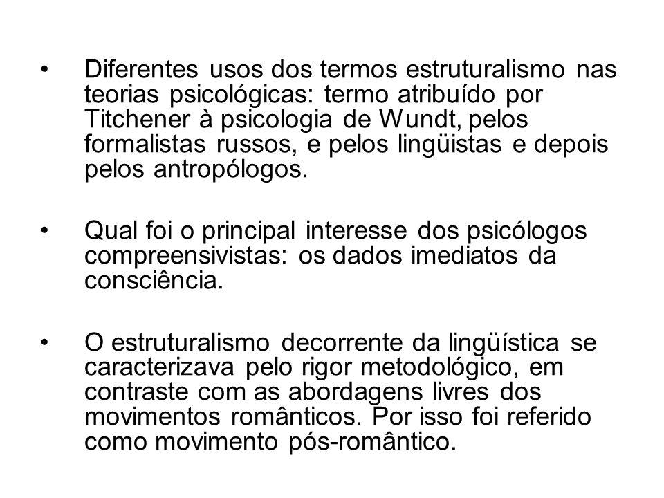 Diferentes usos dos termos estruturalismo nas teorias psicológicas: termo atribuído por Titchener à psicologia de Wundt, pelos formalistas russos, e p