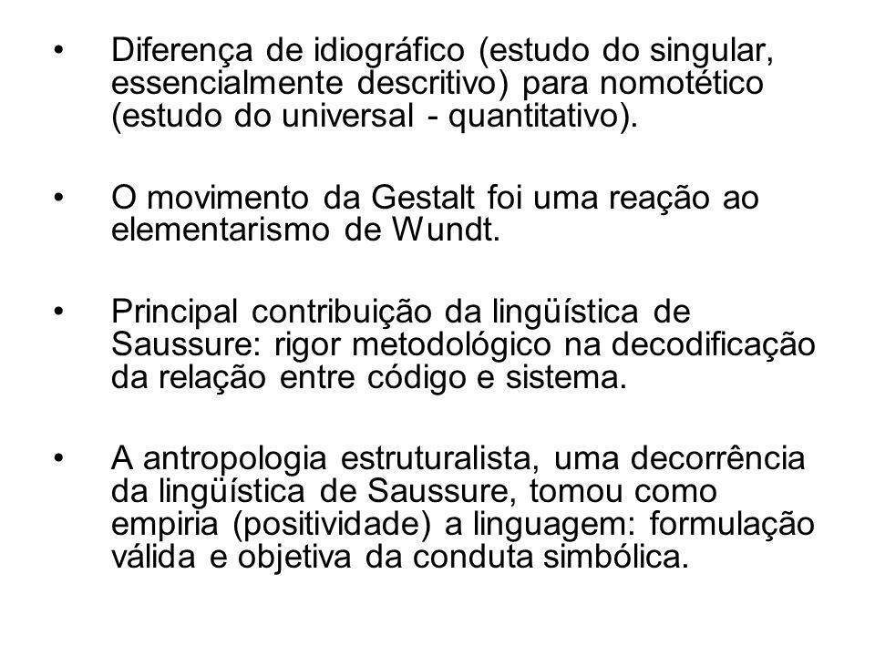 Diferença de idiográfico (estudo do singular, essencialmente descritivo) para nomotético (estudo do universal - quantitativo). O movimento da Gestalt