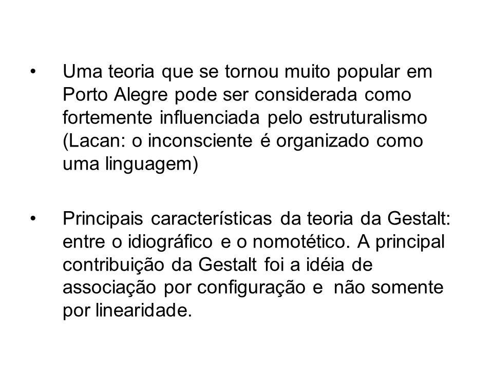 Uma teoria que se tornou muito popular em Porto Alegre pode ser considerada como fortemente influenciada pelo estruturalismo (Lacan: o inconsciente é