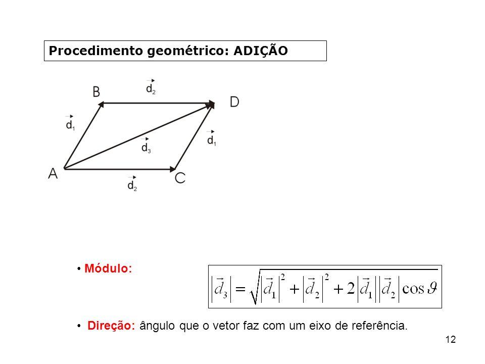 12 Procedimento geométrico: ADIÇÃO Módulo: Direção: ângulo que o vetor faz com um eixo de referência.