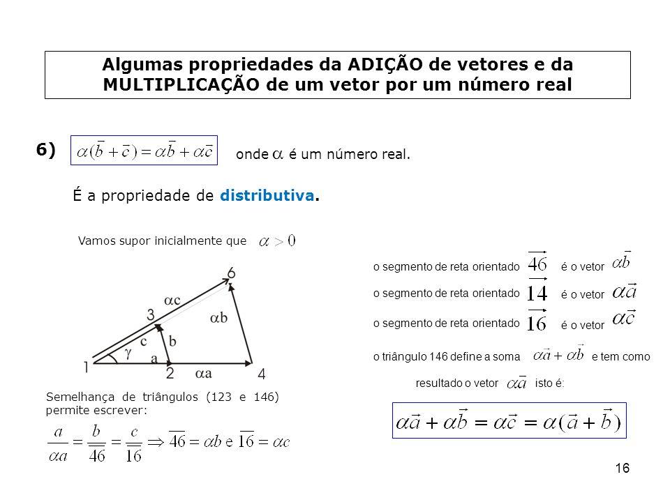 16 Algumas propriedades da ADIÇÃO de vetores e da MULTIPLICAÇÃO de um vetor por um número real 6) onde é um número real. É a propriedade de distributi