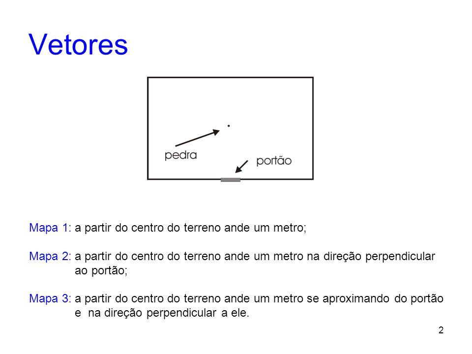 2 Mapa 1: a partir do centro do terreno ande um metro; Mapa 2: a partir do centro do terreno ande um metro na direção perpendicular ao portão; Mapa 3: