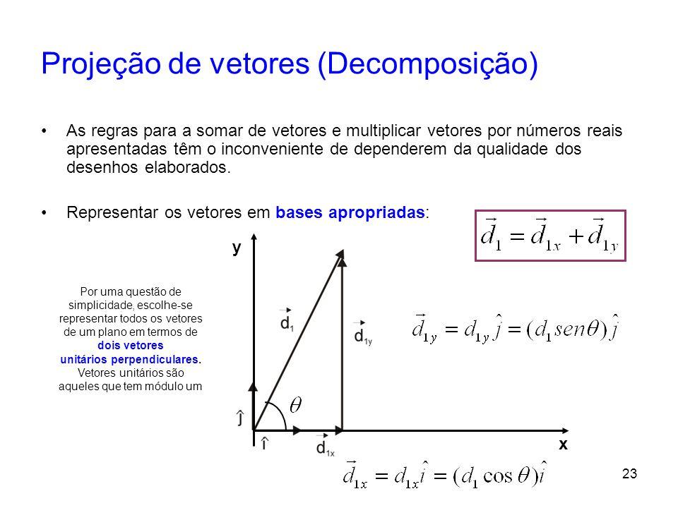 23 Projeção de vetores (Decomposição) As regras para a somar de vetores e multiplicar vetores por números reais apresentadas têm o inconveniente de de