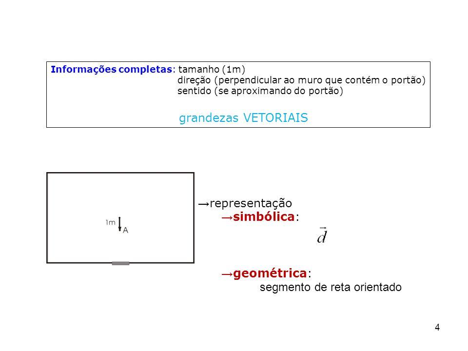 4 Informações completas: tamanho (1m) direção (perpendicular ao muro que contém o portão) sentido (se aproximando do portão) grandezas VETORIAIS repre