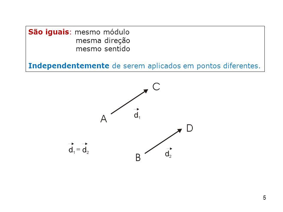 5 São iguais: mesmo módulo mesma direção mesmo sentido Independentemente de serem aplicados em pontos diferentes.