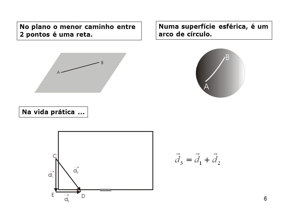 6 No plano o menor caminho entre 2 pontos é uma reta. Numa superfície esférica, é um arco de círculo. Na vida prática...