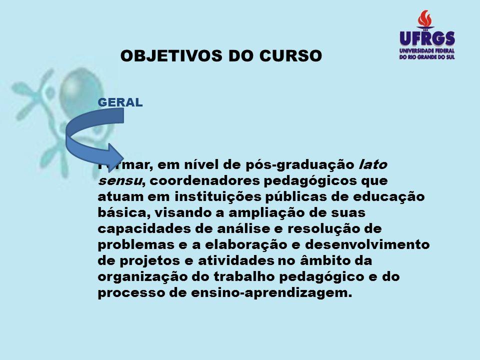 OBJETIVOS DO CURSO GERAL Formar, em nível de pós-graduação lato sensu, coordenadores pedagógicos que atuam em instituições públicas de educação básica