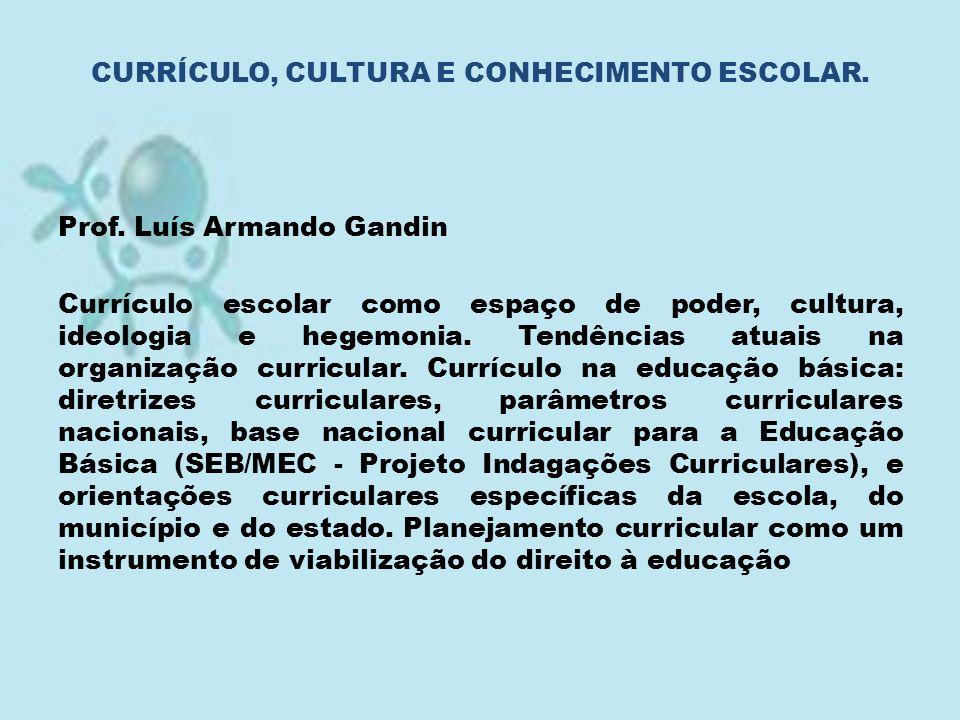 Prof. Luís Armando Gandin Currículo escolar como espaço de poder, cultura, ideologia e hegemonia. Tendências atuais na organização curricular. Currícu