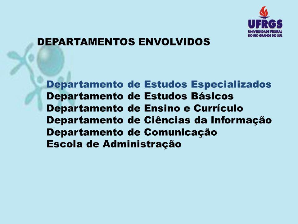 DEPARTAMENTOS ENVOLVIDOS Departamento de Estudos Especializados Departamento de Estudos Básicos Departamento de Ensino e Currículo Departamento de Ciê