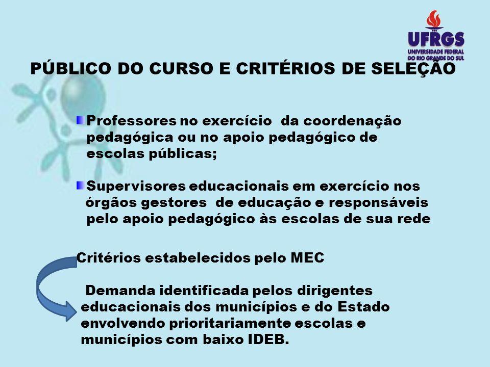 PÚBLICO DO CURSO E CRITÉRIOS DE SELEÇÃO Professores no exercício da coordenação pedagógica ou no apoio pedagógico de escolas públicas; Supervisores ed