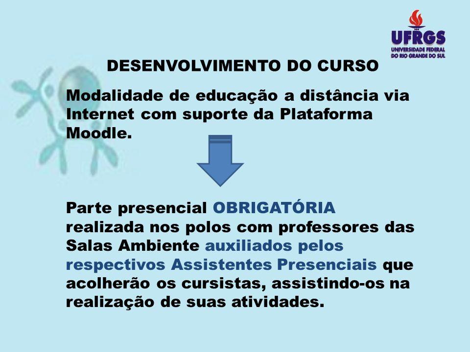 DESENVOLVIMENTO DO CURSO Modalidade de educação a distância via Internet com suporte da Plataforma Moodle. Parte presencial OBRIGATÓRIA realizada nos