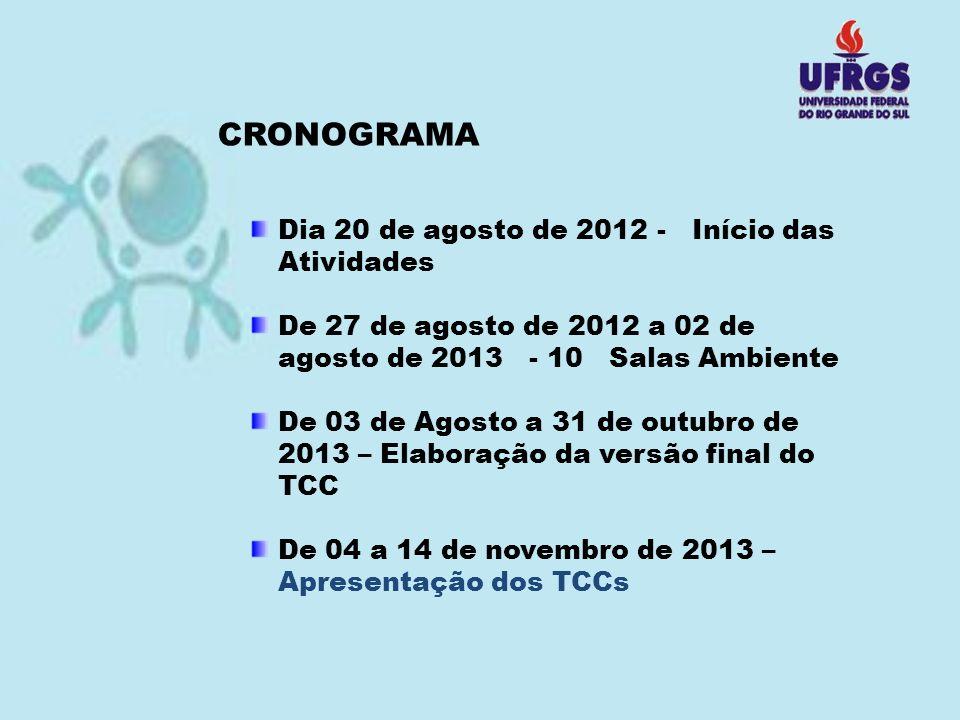CRONOGRAMA Dia 20 de agosto de 2012 - Início das Atividades De 27 de agosto de 2012 a 02 de agosto de 2013 - 10 Salas Ambiente De 03 de Agosto a 31 de