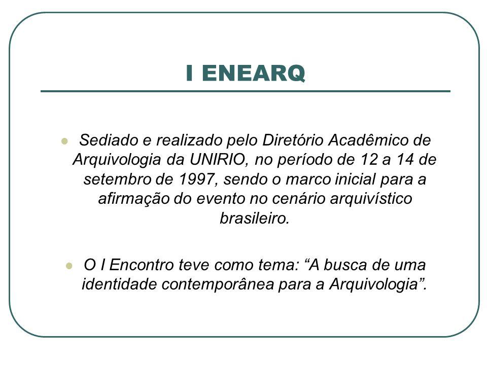 I ENEARQ Sediado e realizado pelo Diretório Acadêmico de Arquivologia da UNIRIO, no período de 12 a 14 de setembro de 1997, sendo o marco inicial para