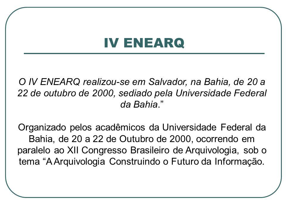 IV ENEARQ O IV ENEARQ realizou-se em Salvador, na Bahia, de 20 a 22 de outubro de 2000, sediado pela Universidade Federal da Bahia. Organizado pelos a