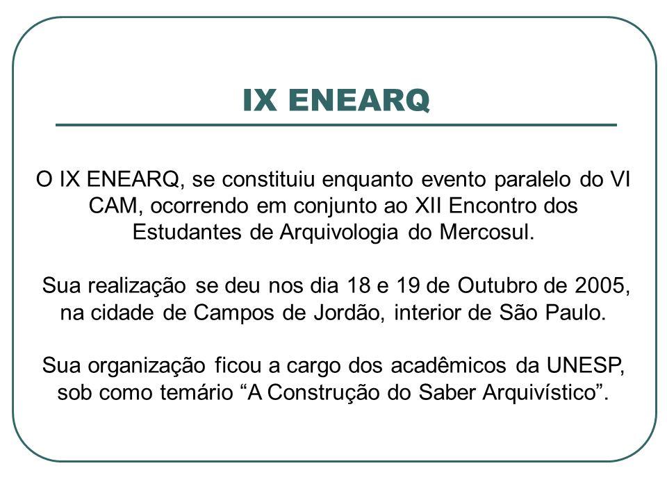 IX ENEARQ O IX ENEARQ, se constituiu enquanto evento paralelo do VI CAM, ocorrendo em conjunto ao XII Encontro dos Estudantes de Arquivologia do Merco