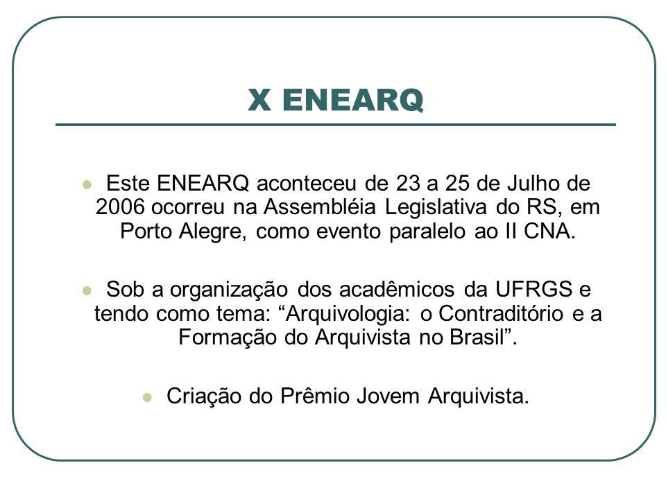 X ENEARQ Este ENEARQ aconteceu de 23 a 25 de Julho de 2006 ocorreu na Assembléia Legislativa do RS, em Porto Alegre, como evento paralelo ao II CNA. S