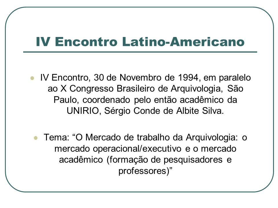 IV Encontro Latino-Americano IV Encontro, 30 de Novembro de 1994, em paralelo ao X Congresso Brasileiro de Arquivologia, São Paulo, coordenado pelo en