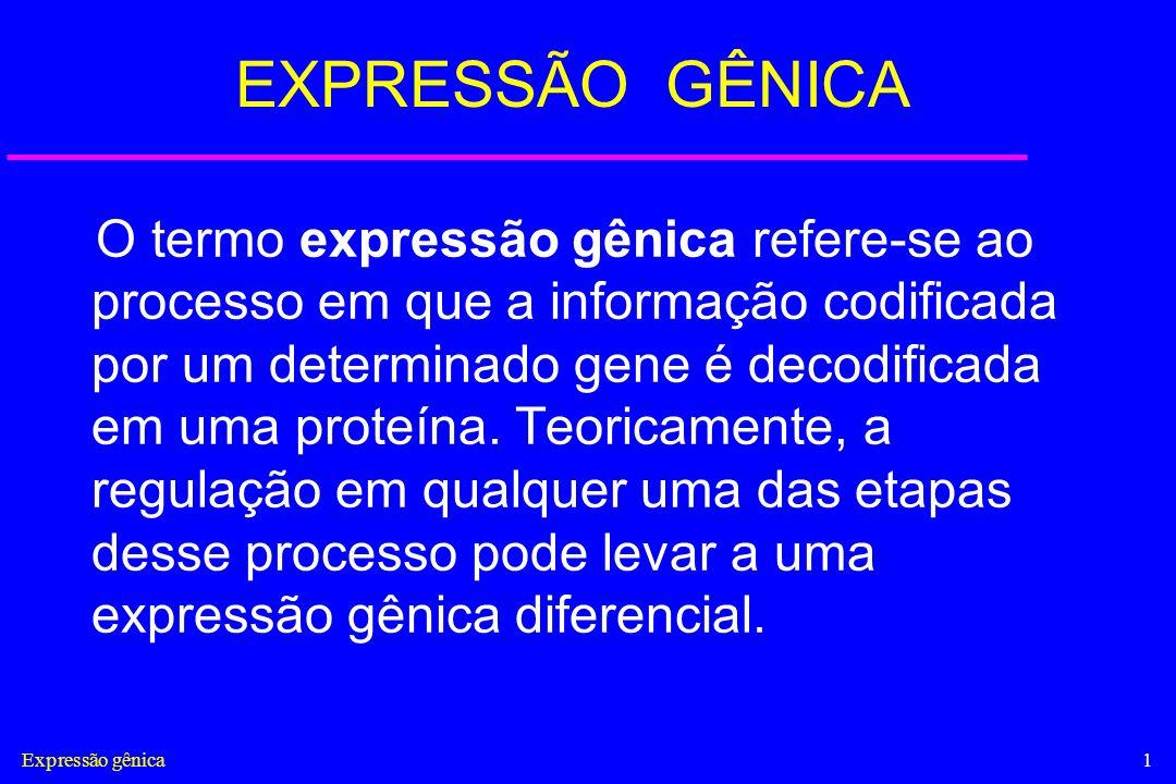 Expressão gênica1 EXPRESSÃO GÊNICA O termo expressão gênica refere-se ao processo em que a informação codificada por um determinado gene é decodificad