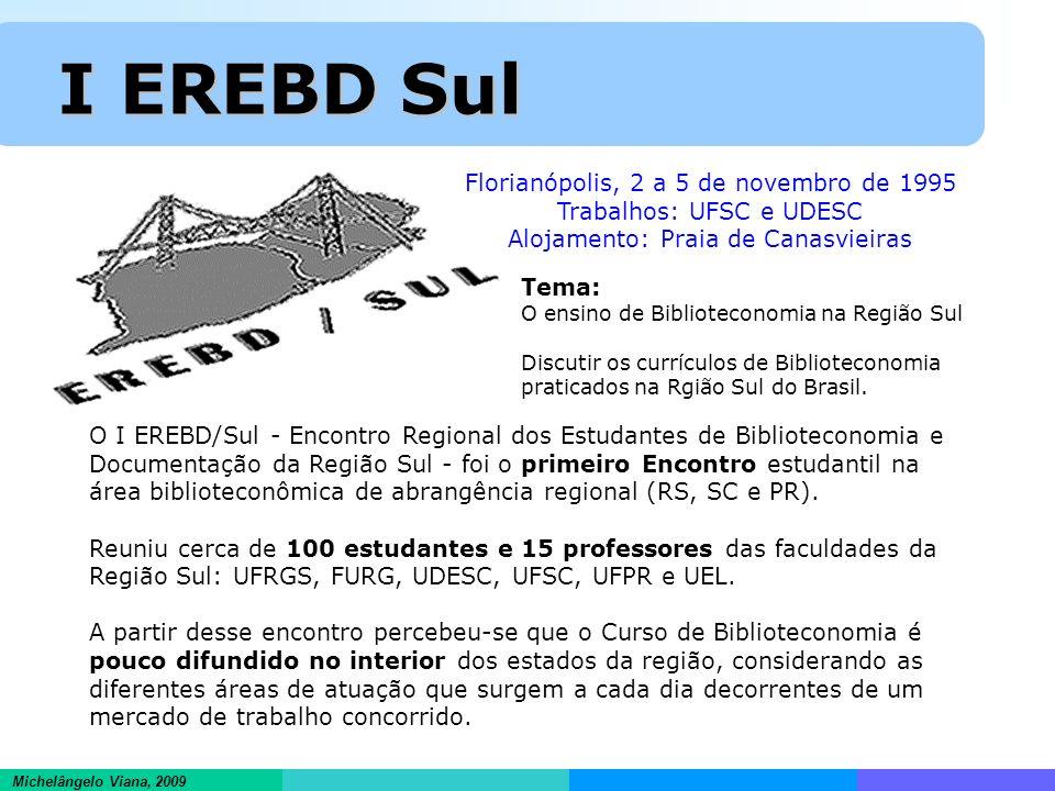 Informações científicas em ambientes hipertextuais Michelângelo Viana, 2009 I EREBD Sul I EREBD Sul Florianópolis, 2 a 5 de novembro de 1995 Trabalhos