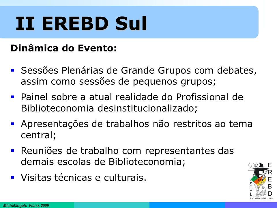 Informações científicas em ambientes hipertextuais Michelângelo Viana, 2009 II EREBD Sul II EREBD Sul Dinâmica do Evento: Sessões Plenárias de Grande