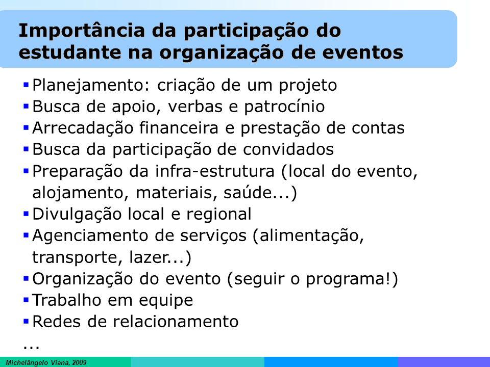 Informações científicas em ambientes hipertextuais Michelângelo Viana, 2009 Importância da participação do estudante na organização de eventos Planeja