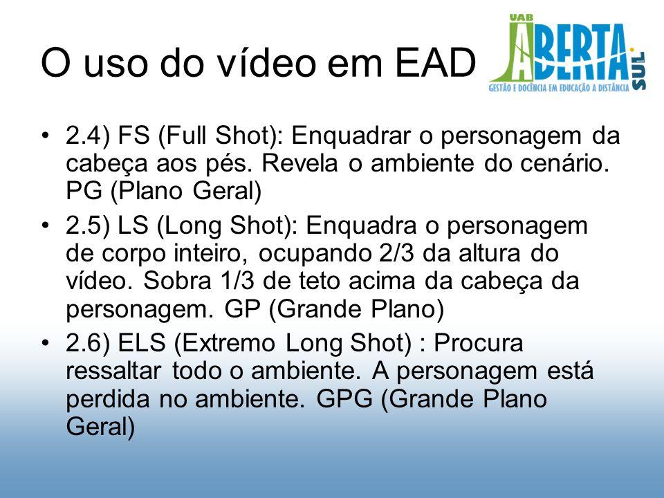 O uso do vídeo em EAD 2.4) FS (Full Shot): Enquadrar o personagem da cabeça aos pés.
