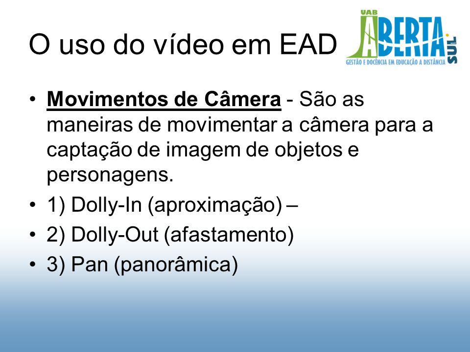 O uso do vídeo em EAD Movimentos de Câmera - São as maneiras de movimentar a câmera para a captação de imagem de objetos e personagens.