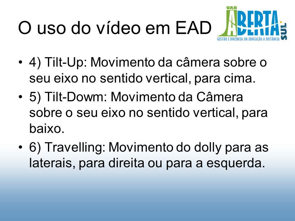 O uso do vídeo em EAD 4) Tilt-Up: Movimento da câmera sobre o seu eixo no sentido vertical, para cima.