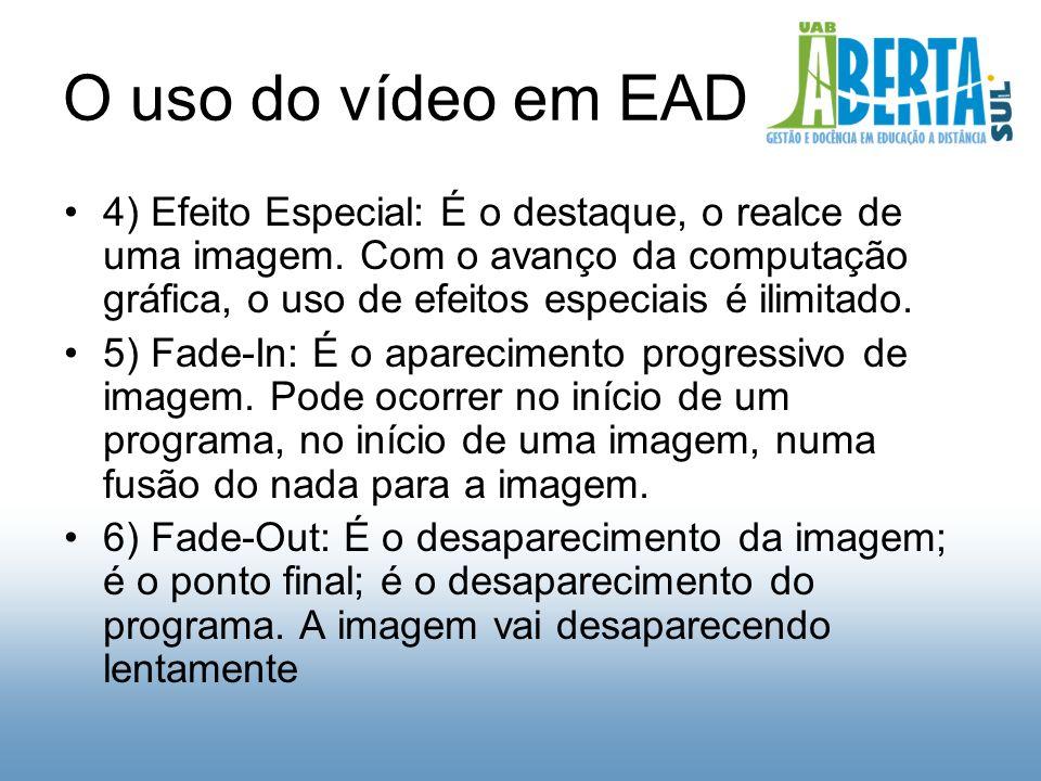 O uso do vídeo em EAD 4) Efeito Especial: É o destaque, o realce de uma imagem.