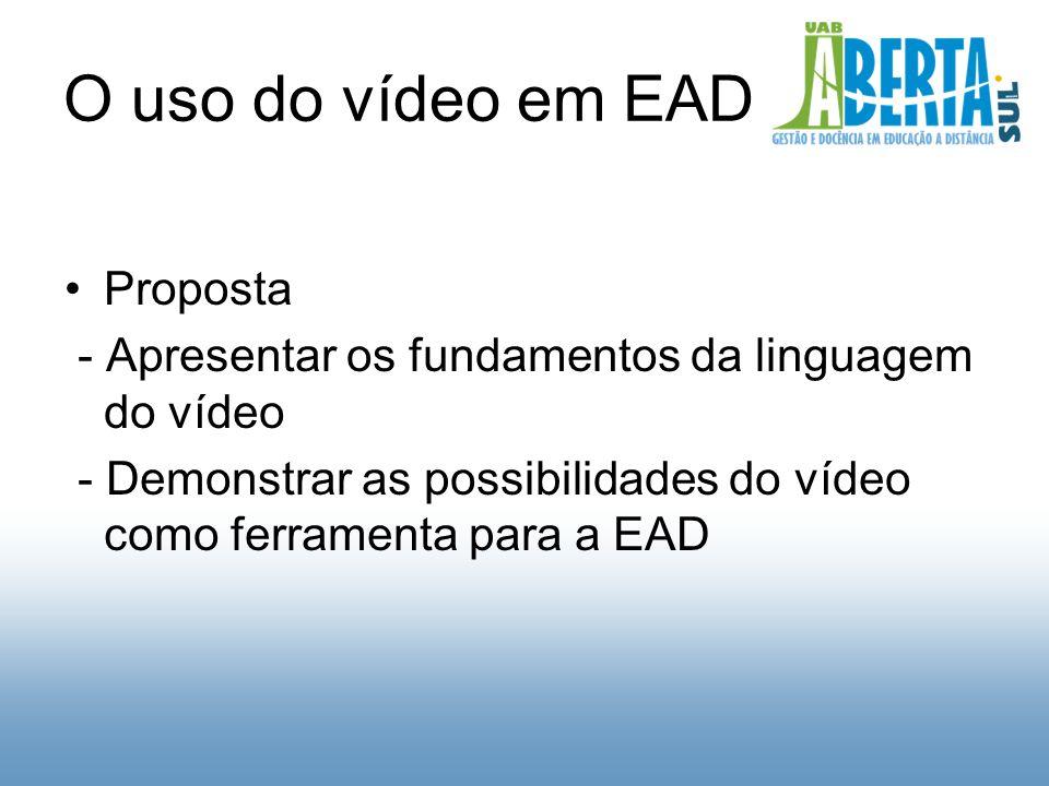 O uso do vídeo em EAD Proposta - Apresentar os fundamentos da linguagem do vídeo - Demonstrar as possibilidades do vídeo como ferramenta para a EAD