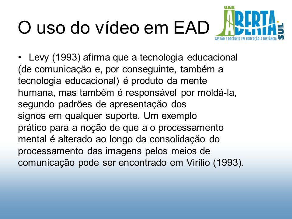 O uso do vídeo em EAD Levy (1993) afirma que a tecnologia educacional (de comunicação e, por conseguinte, também a tecnologia educacional) é produto da mente humana, mas também é responsável por moldá-la, segundo padrões de apresentação dos signos em qualquer suporte.