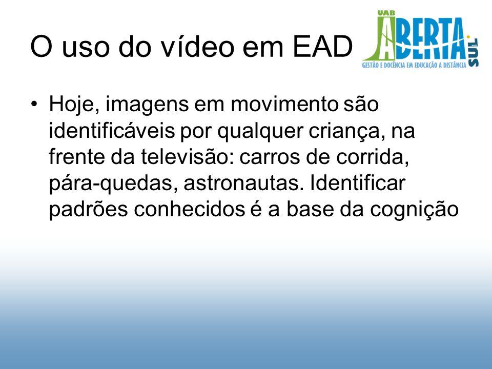 O uso do vídeo em EAD Hoje, imagens em movimento são identificáveis por qualquer criança, na frente da televisão: carros de corrida, pára-quedas, astronautas.