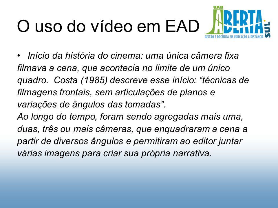 O uso do vídeo em EAD Início da história do cinema: uma única câmera fixa filmava a cena, que acontecia no limite de um único quadro.
