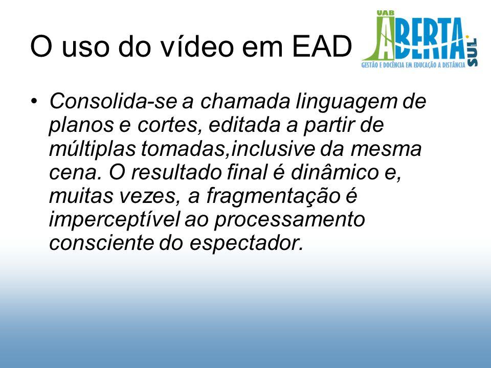 O uso do vídeo em EAD Consolida-se a chamada linguagem de planos e cortes, editada a partir de múltiplas tomadas,inclusive da mesma cena.