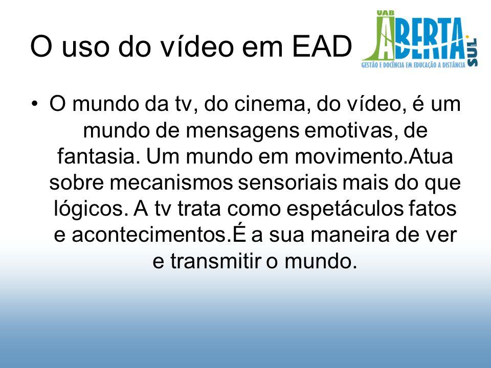O uso do vídeo em EAD O mundo da tv, do cinema, do vídeo, é um mundo de mensagens emotivas, de fantasia.