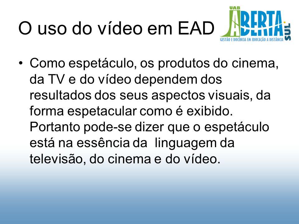 O uso do vídeo em EAD Como espetáculo, os produtos do cinema, da TV e do vídeo dependem dos resultados dos seus aspectos visuais, da forma espetacular como é exibido.