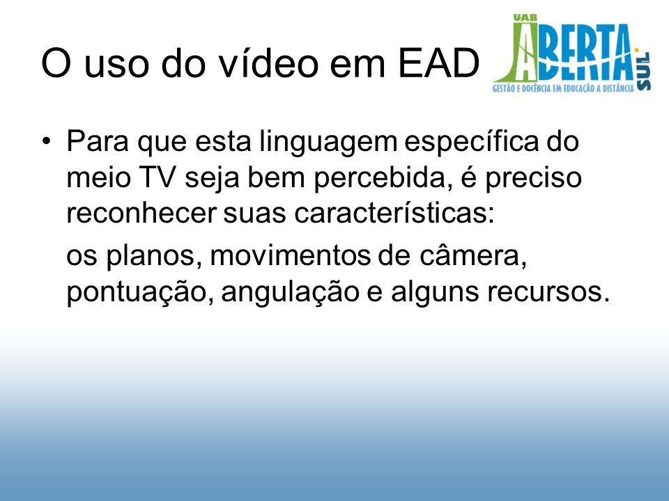 O uso do vídeo em EAD Para que esta linguagem específica do meio TV seja bem percebida, é preciso reconhecer suas características: os planos, movimentos de câmera, pontuação, angulação e alguns recursos.