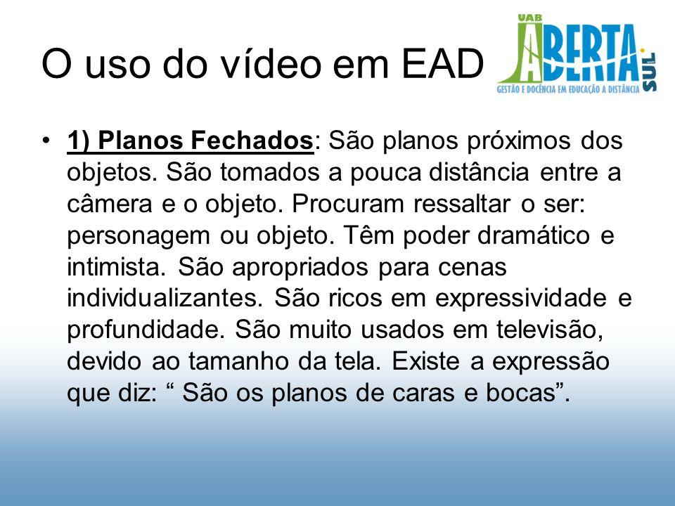 O uso do vídeo em EAD 1) Planos Fechados: São planos próximos dos objetos.